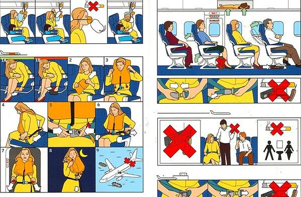 Airline graphics visual instructions for clarity
