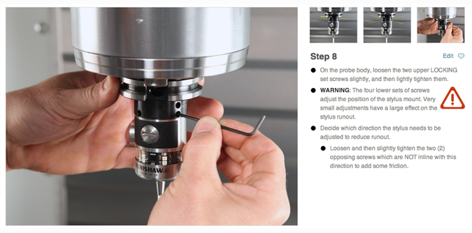 Work instructions showing the step to adjust manufacturing equipment.