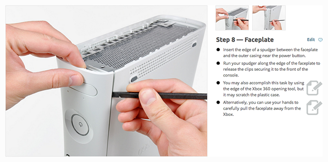 Work instructions showing the steps to remove an xbox face plate.